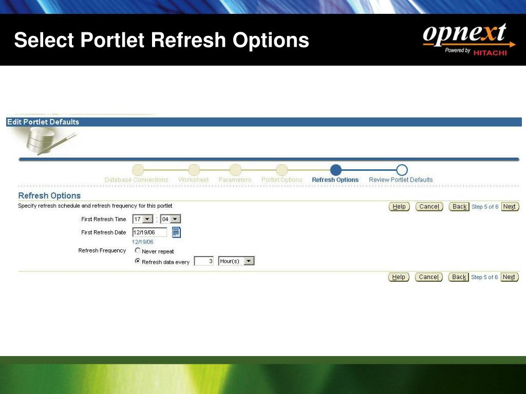 Select Portlet Refresh Options