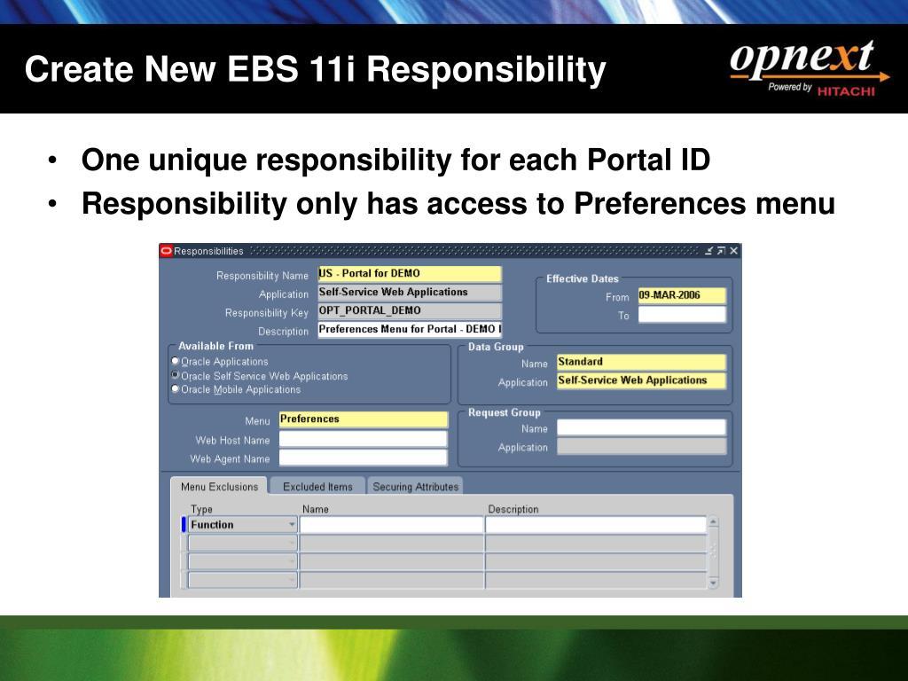 Create New EBS 11i Responsibility