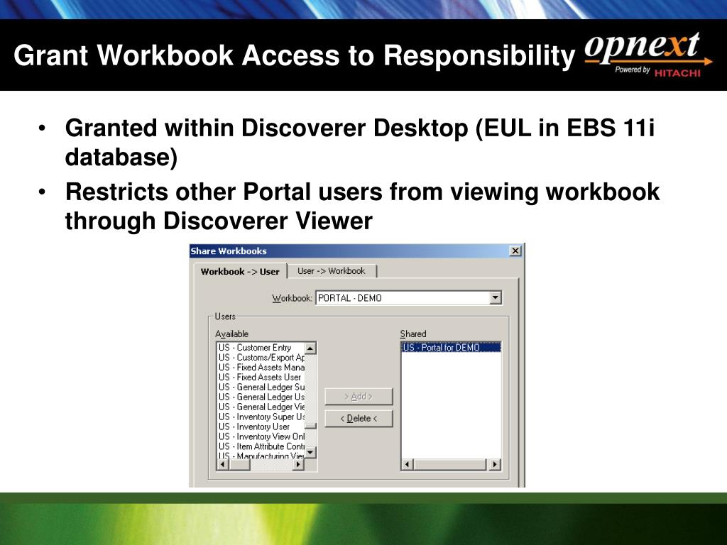 Grant Workbook Access to Responsibility