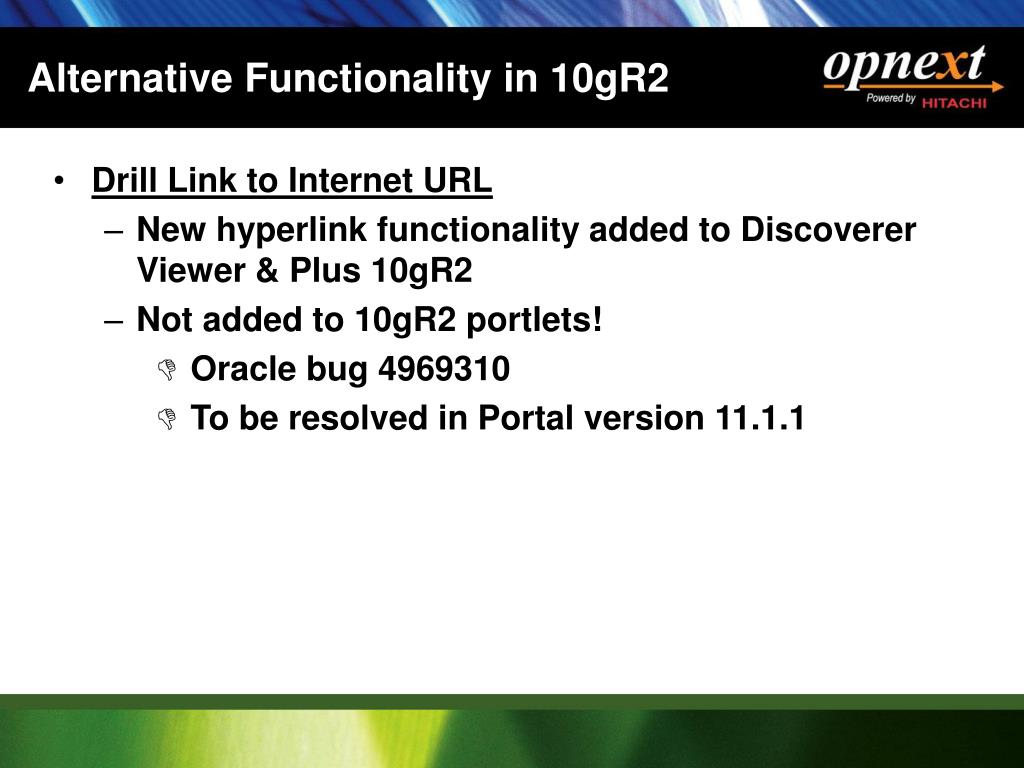 Alternative Functionality in 10gR2