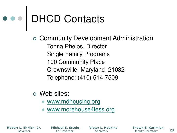 DHCD Contacts