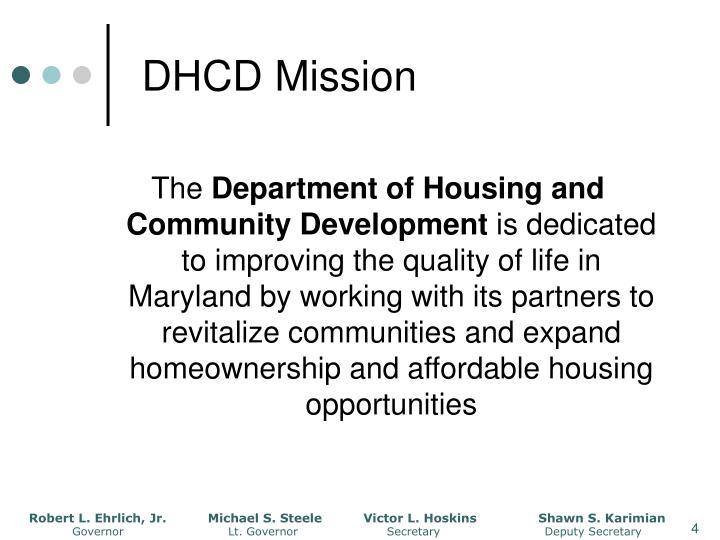 DHCD Mission
