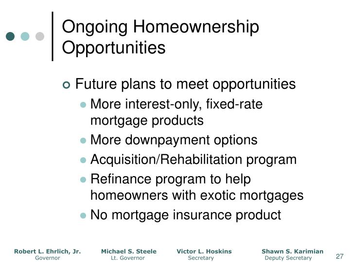 Ongoing Homeownership Opportunities