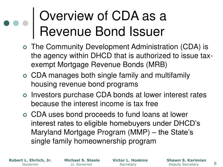 Overview of CDA as a Revenue Bond Issuer