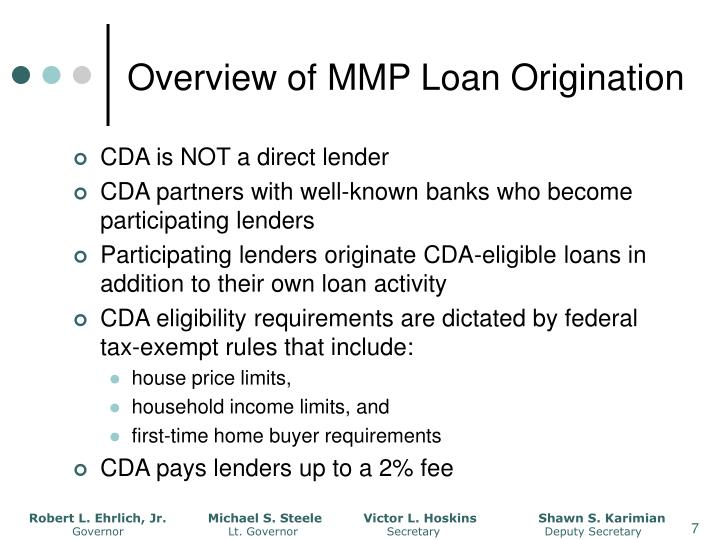 Overview of MMP Loan Origination