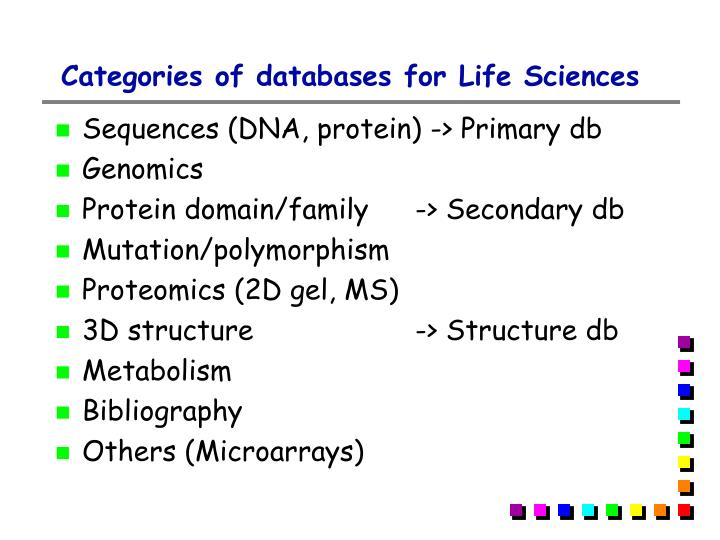 Categories of databases for Life Sciences