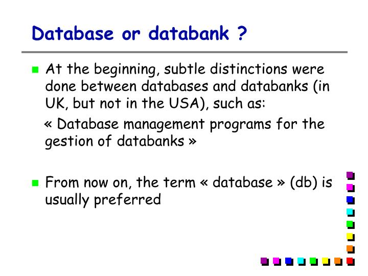 Database or databank ?