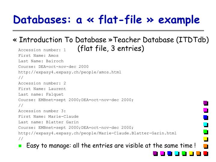 Databases: a « flat-file » example