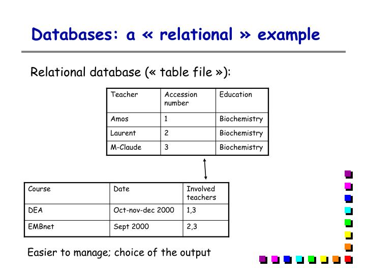 Databases: a «relational» example