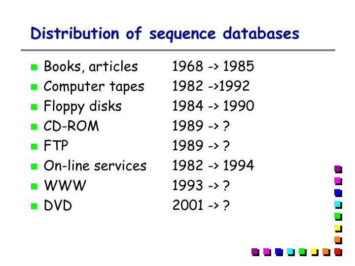 Distribution of sequence databases