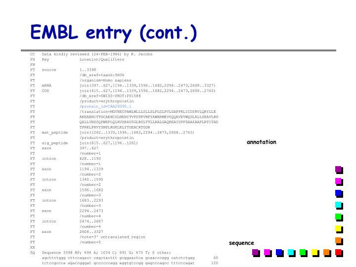 EMBL entry (cont.)