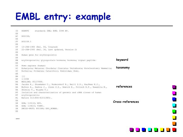 EMBL entry: example