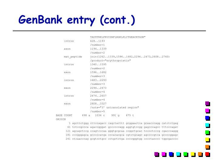 GenBank entry (cont.)