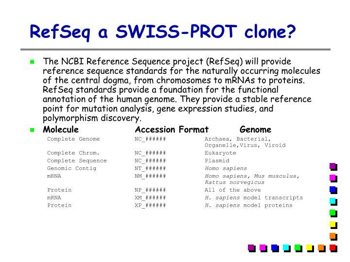 RefSeq a SWISS-PROT clone?