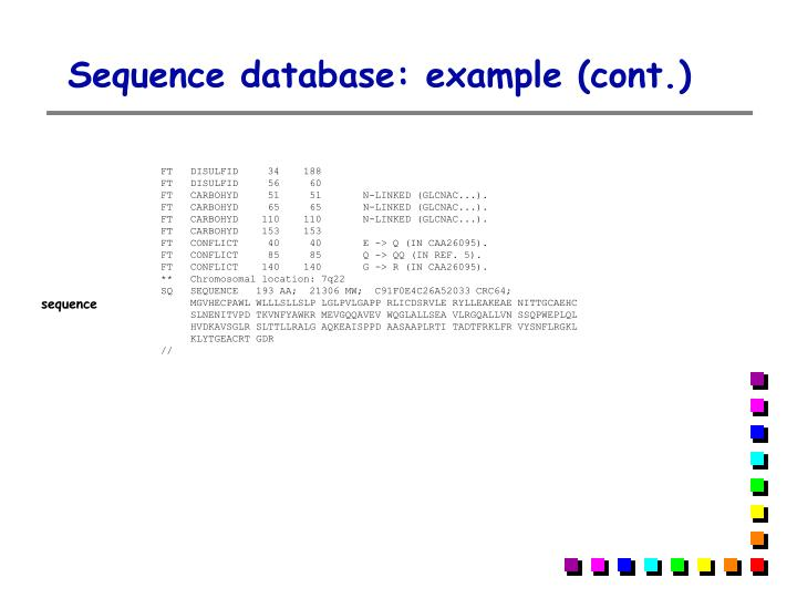 Sequence database: example (cont.)