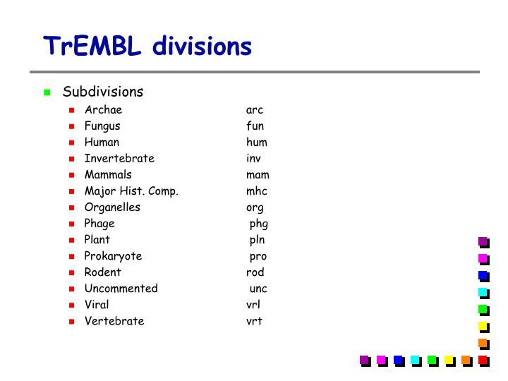 TrEMBL divisions