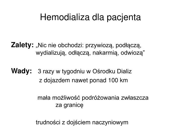 Hemodializa dla pacjenta
