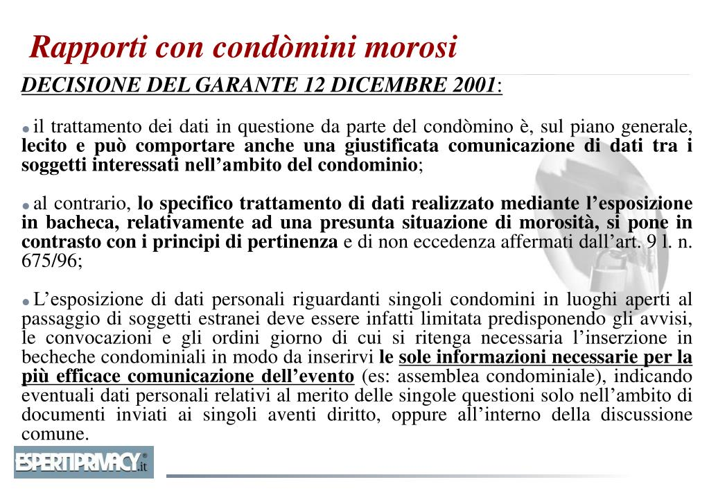 DECISIONE DEL GARANTE 12 DICEMBRE 2001