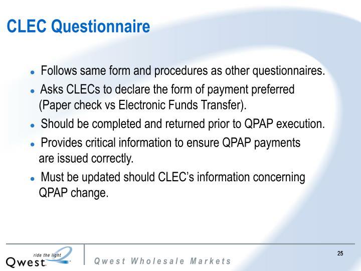 CLEC Questionnaire