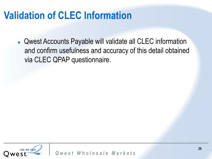 Validation of CLEC Information