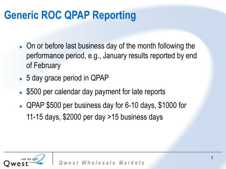 Generic ROC QPAP Reporting