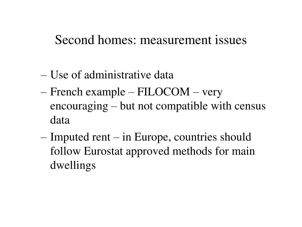Second homes: measurement issues