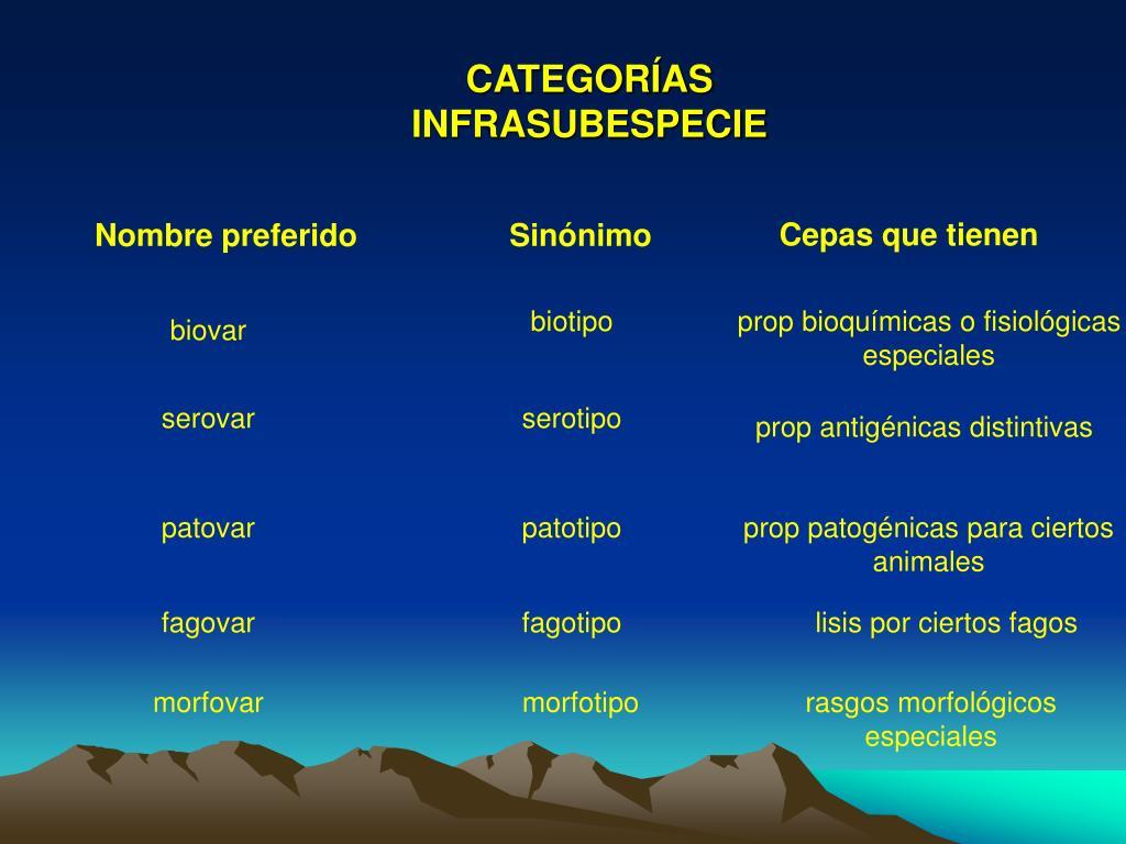 CATEGORÍAS INFRASUBESPECIE