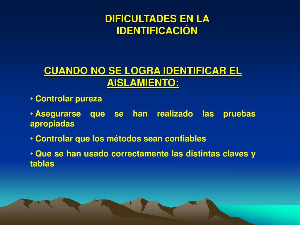 DIFICULTADES EN LA IDENTIFICACIÓN