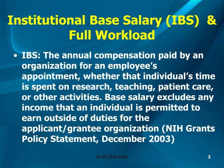 Institutional base salary ibs full workload
