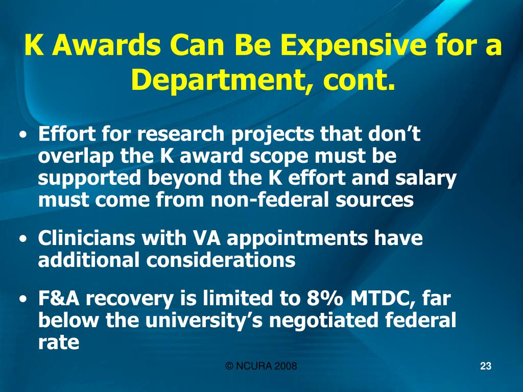 K Awards Can Be Expensive for a Department, cont.