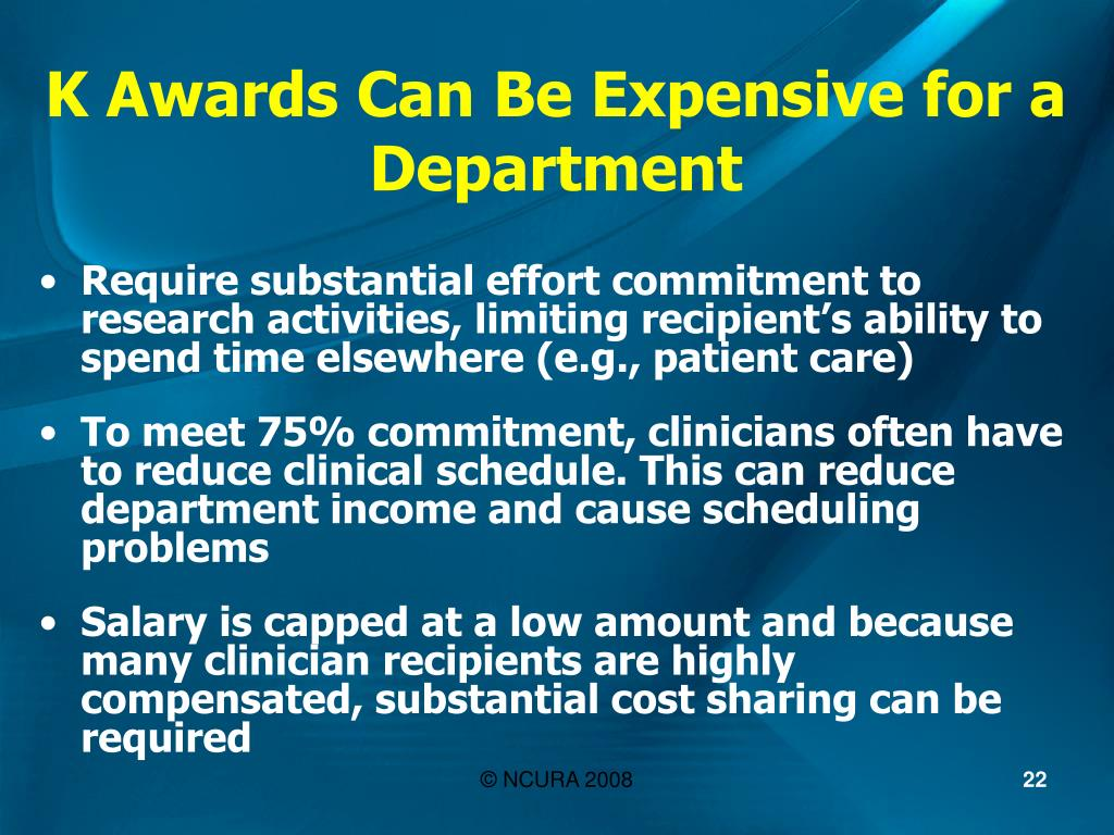 K Awards Can Be Expensive for a Department