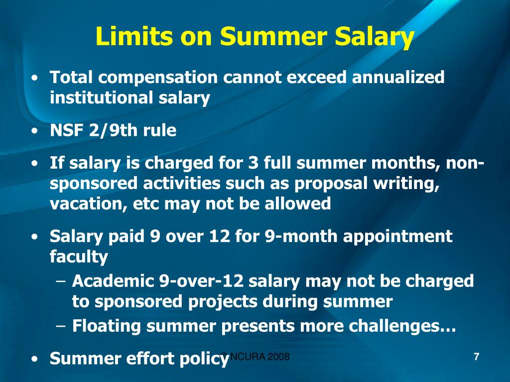 Limits on Summer Salary