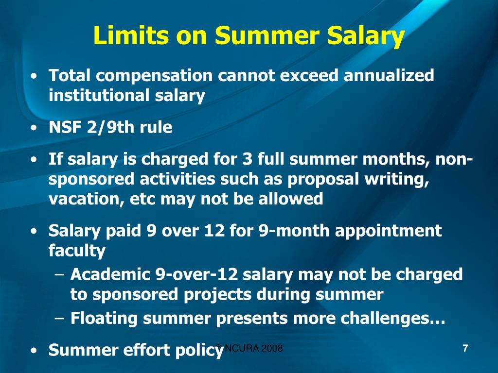 Limits on Summer Salary