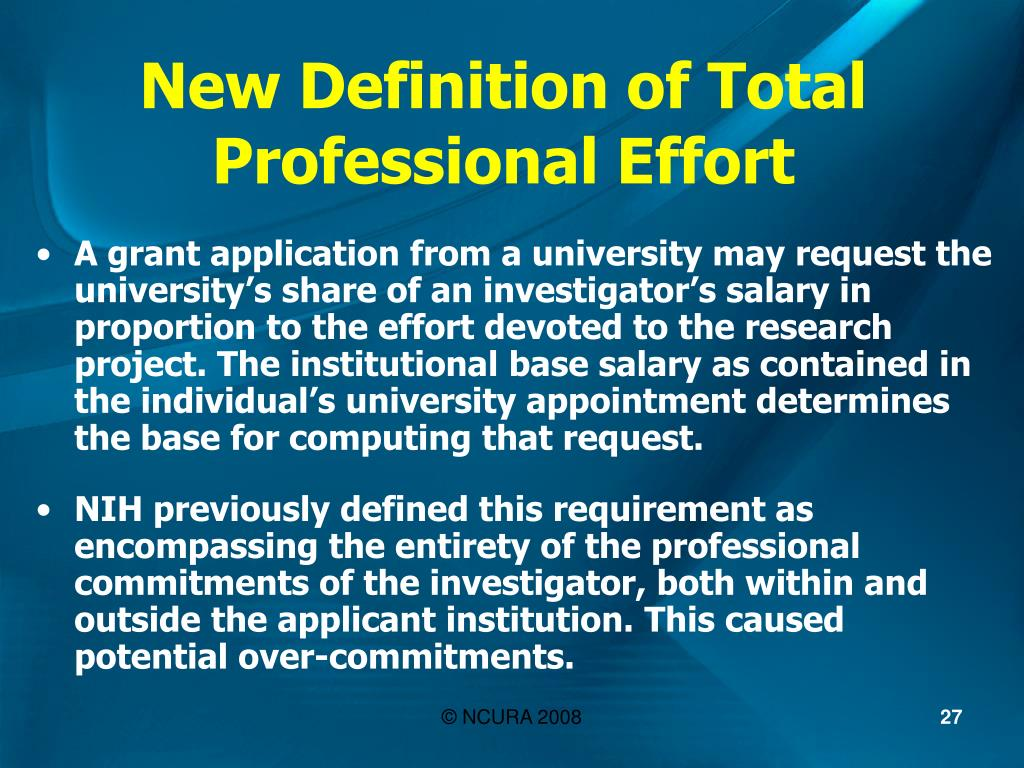 New Definition of Total Professional Effort