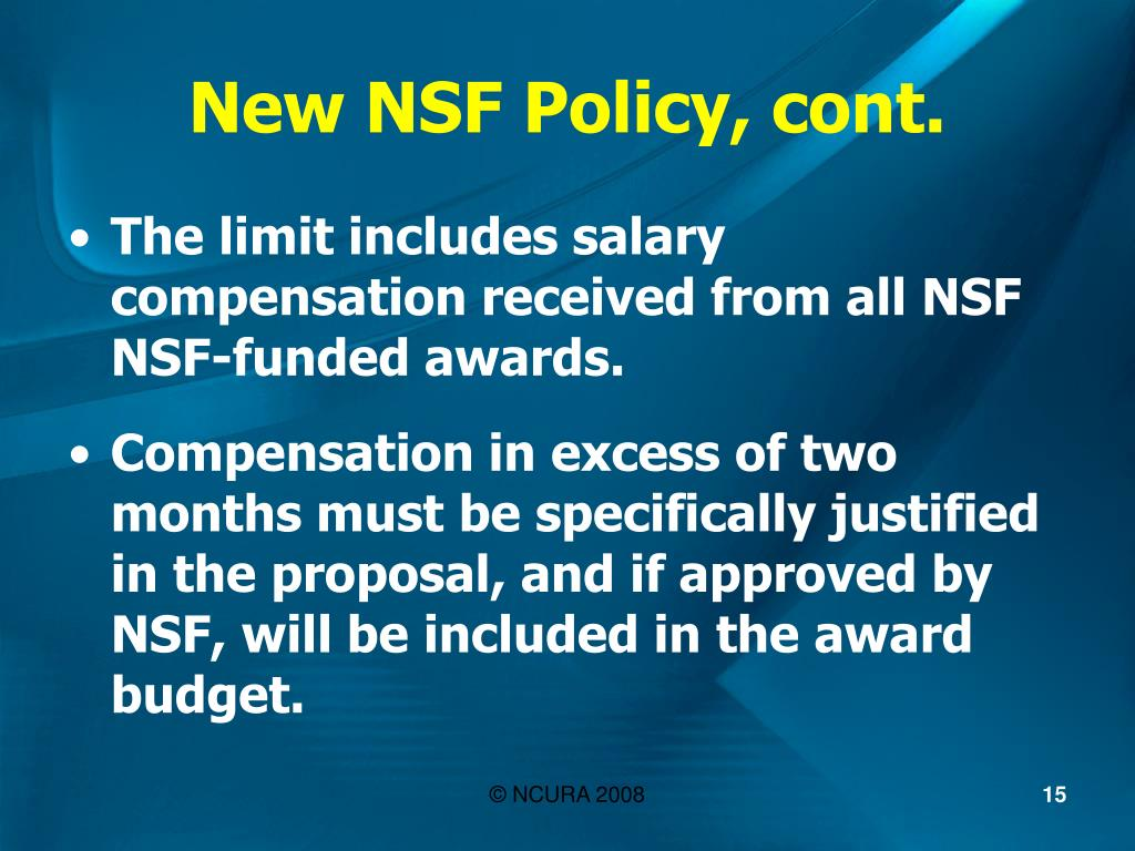 New NSF Policy, cont.