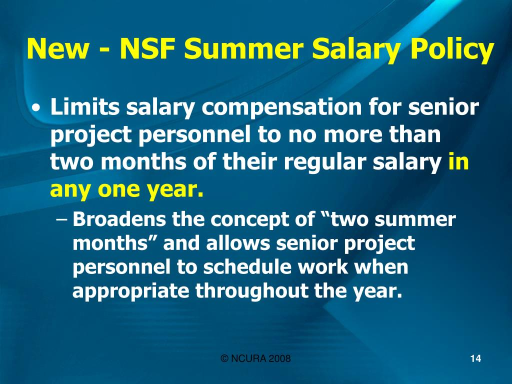 New - NSF Summer Salary Policy