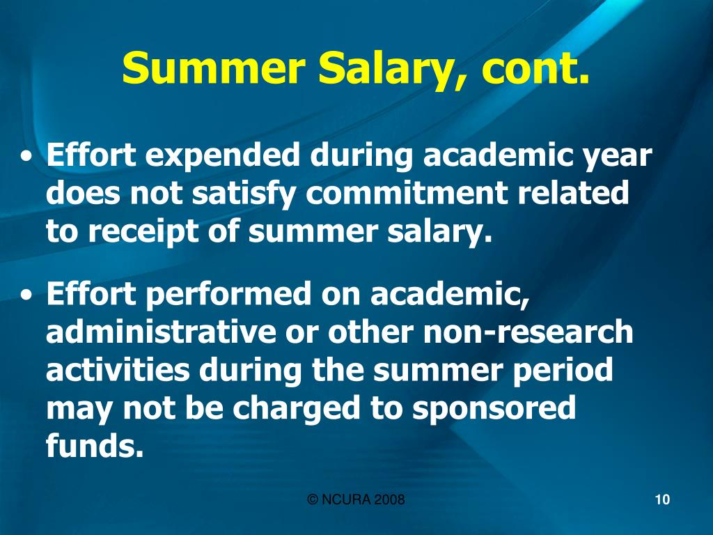 Summer Salary, cont.
