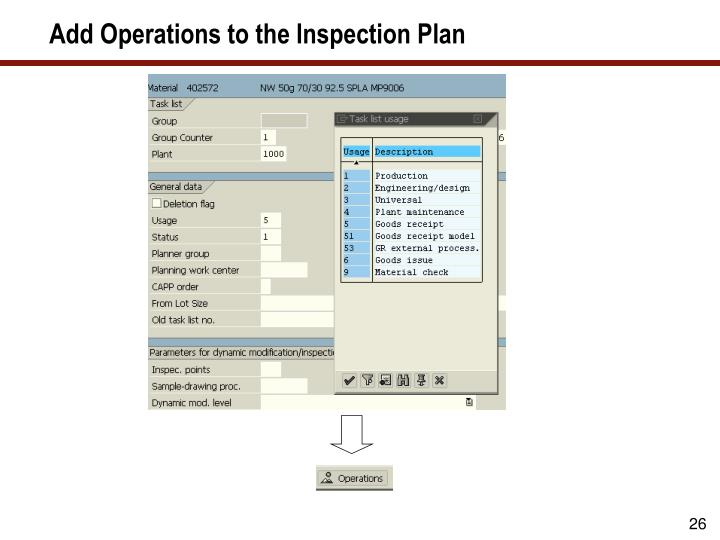 Add Operations to the Inspection Plan