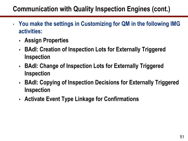 Communication with Quality Inspection Engines (cont.)