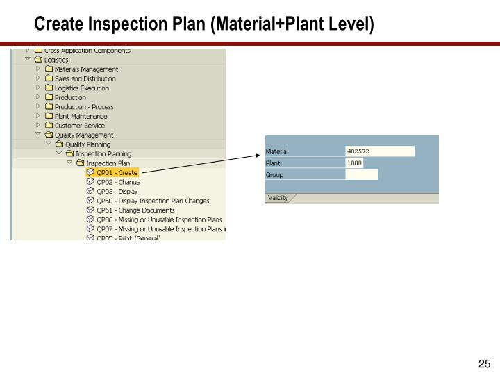 Create Inspection Plan (Material+Plant Level)