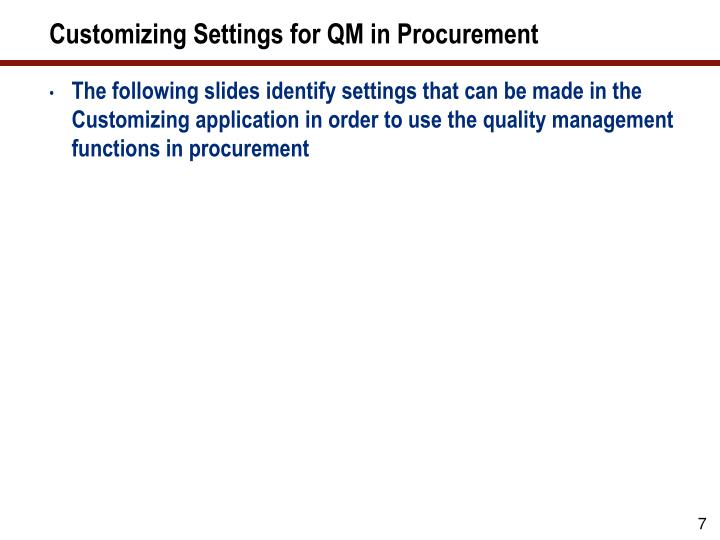 Customizing Settings for QM in Procurement