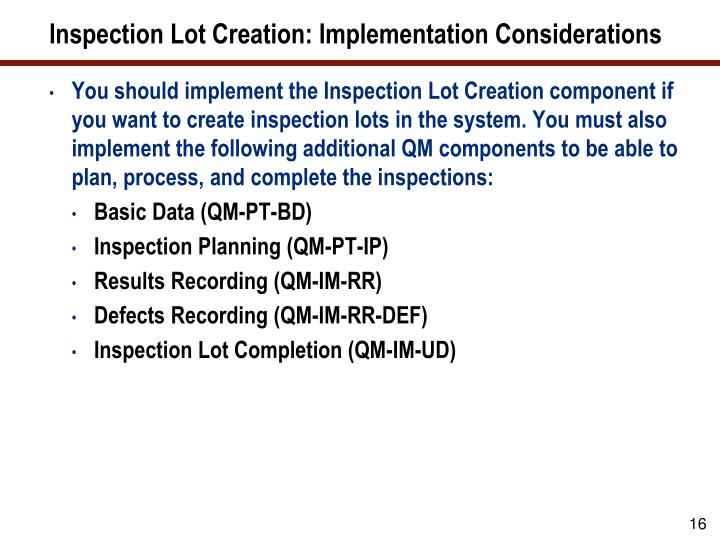 Inspection Lot Creation: Implementation Considerations