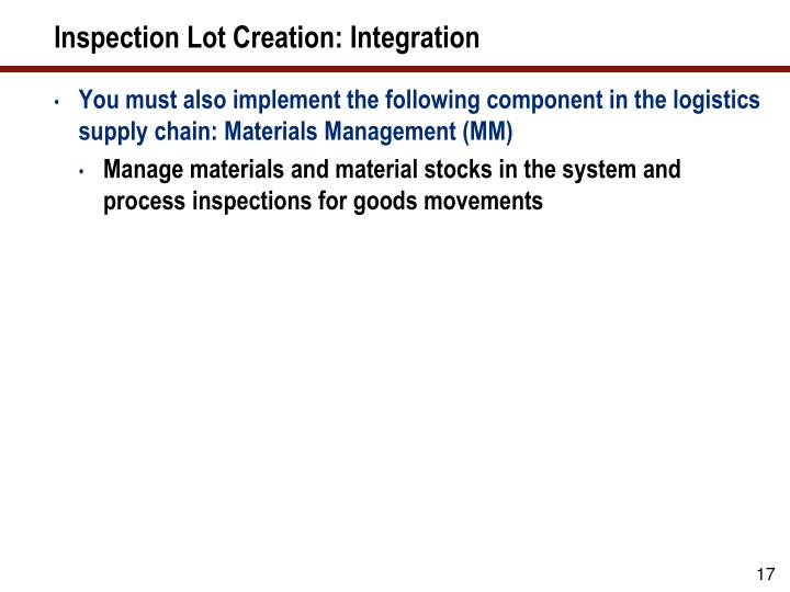 Inspection Lot Creation: Integration