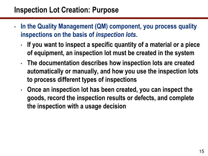 Inspection Lot Creation: Purpose