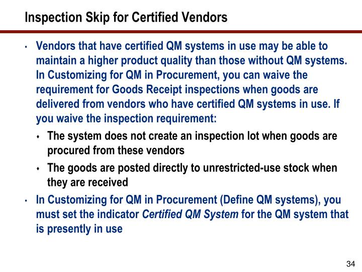 Inspection Skip for Certified Vendors