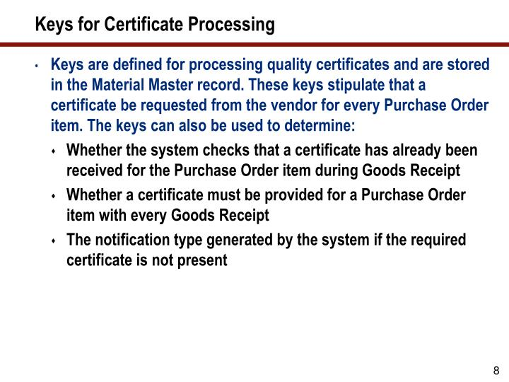 Keys for Certificate Processing