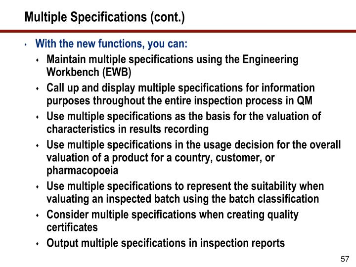 Multiple Specifications (cont.)