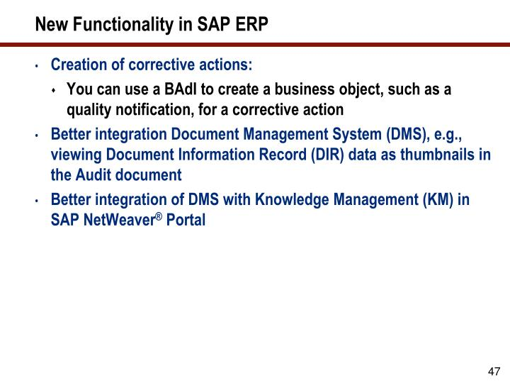 New Functionality in SAP ERP
