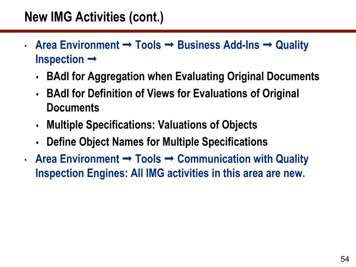 New IMG Activities (cont.)