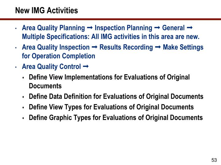 New IMG Activities